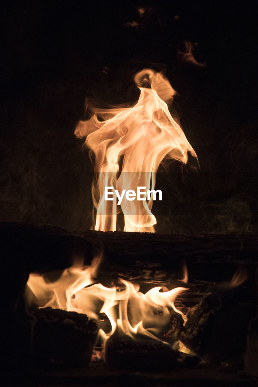 fire, burning, flame, fire - natural phenomenon, heat - temperature, motion, nature, night, orange color, glowing, no people, wood, dark, bonfire, log, close-up, long exposure, wood - material, event, firewood