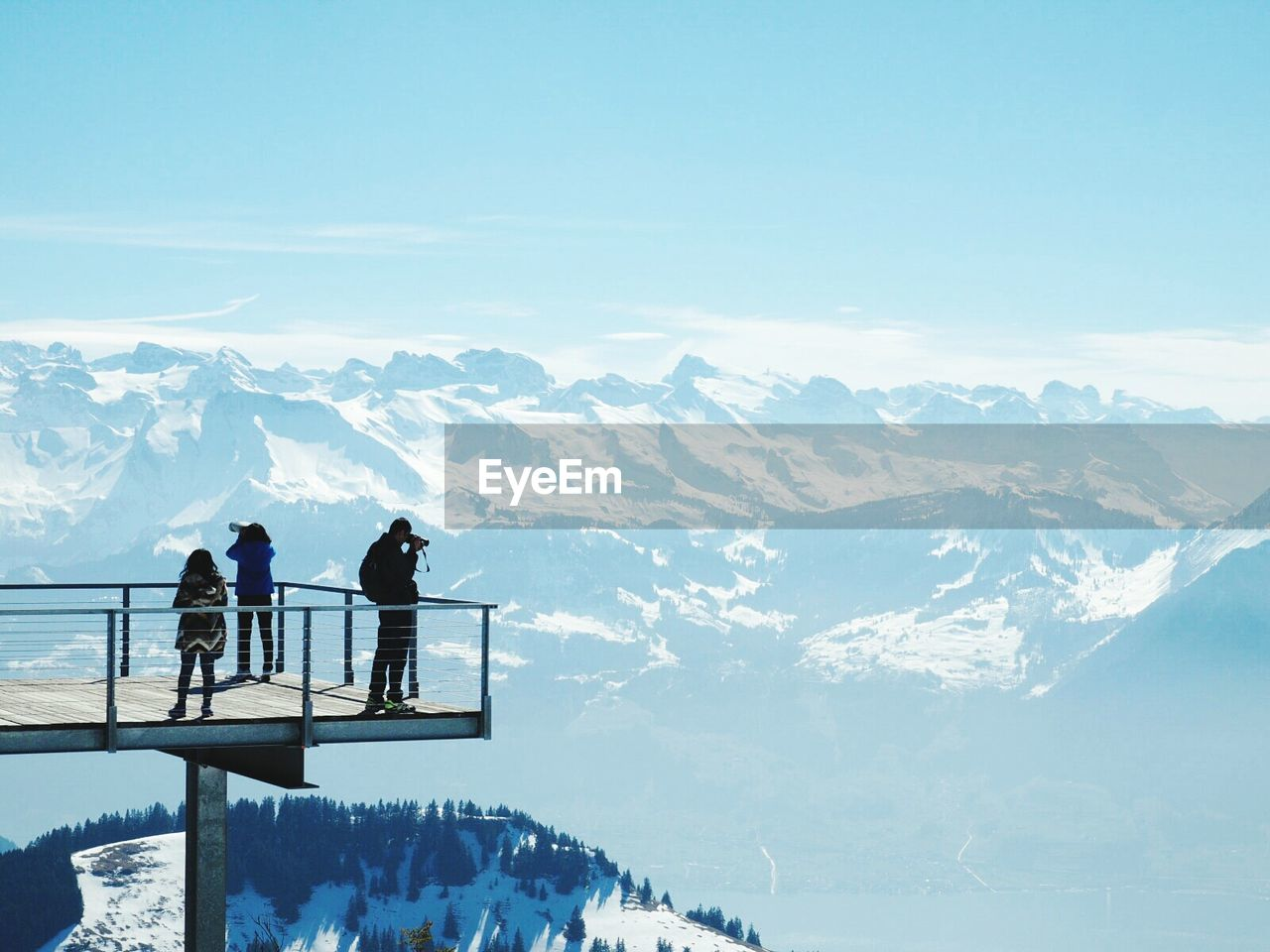 People On Rigi Mountain Observation Point