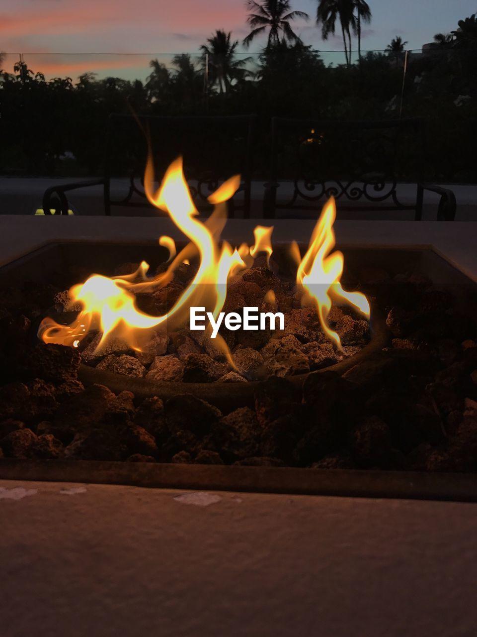 burning, flame, heat - temperature, glowing, sunset, night, outdoors, no people, tree, illuminated, nature, close-up, diya - oil lamp, sky