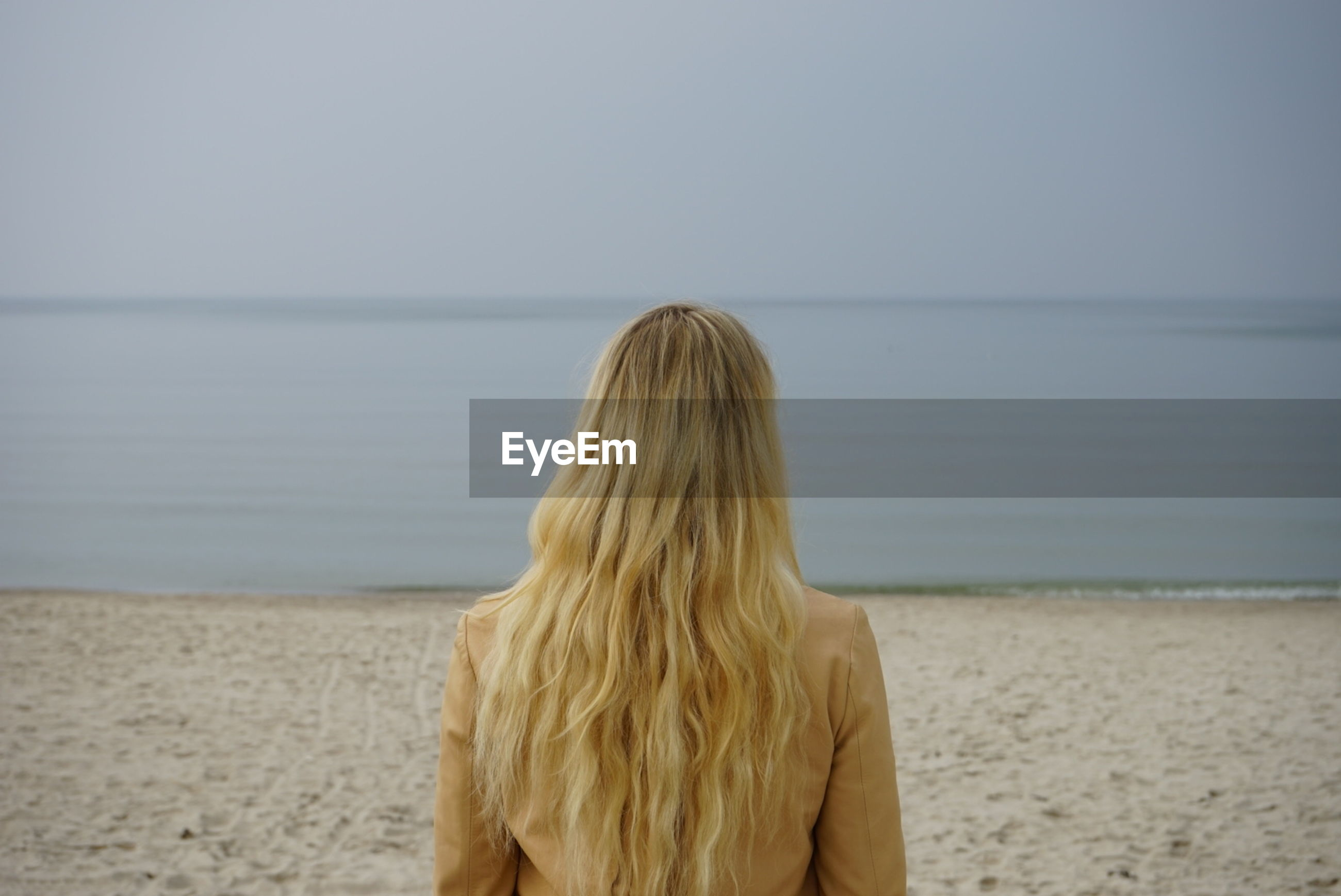 Rear view of young woman looking at sea