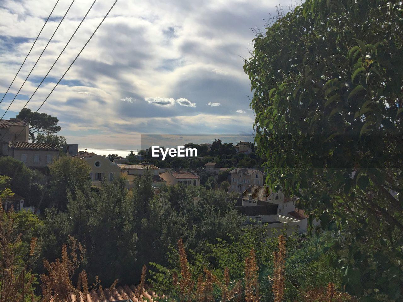 Houses Amidst Trees Against Sky