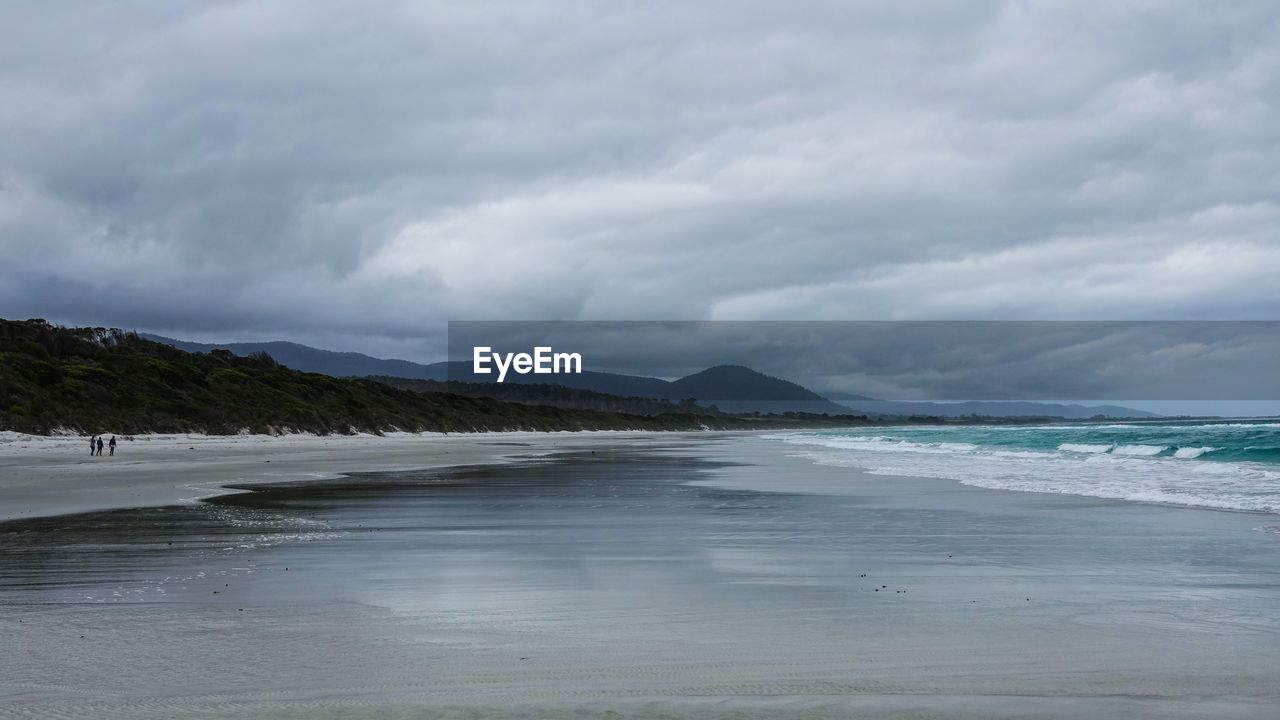 Scenic view of beach on a cloudy day