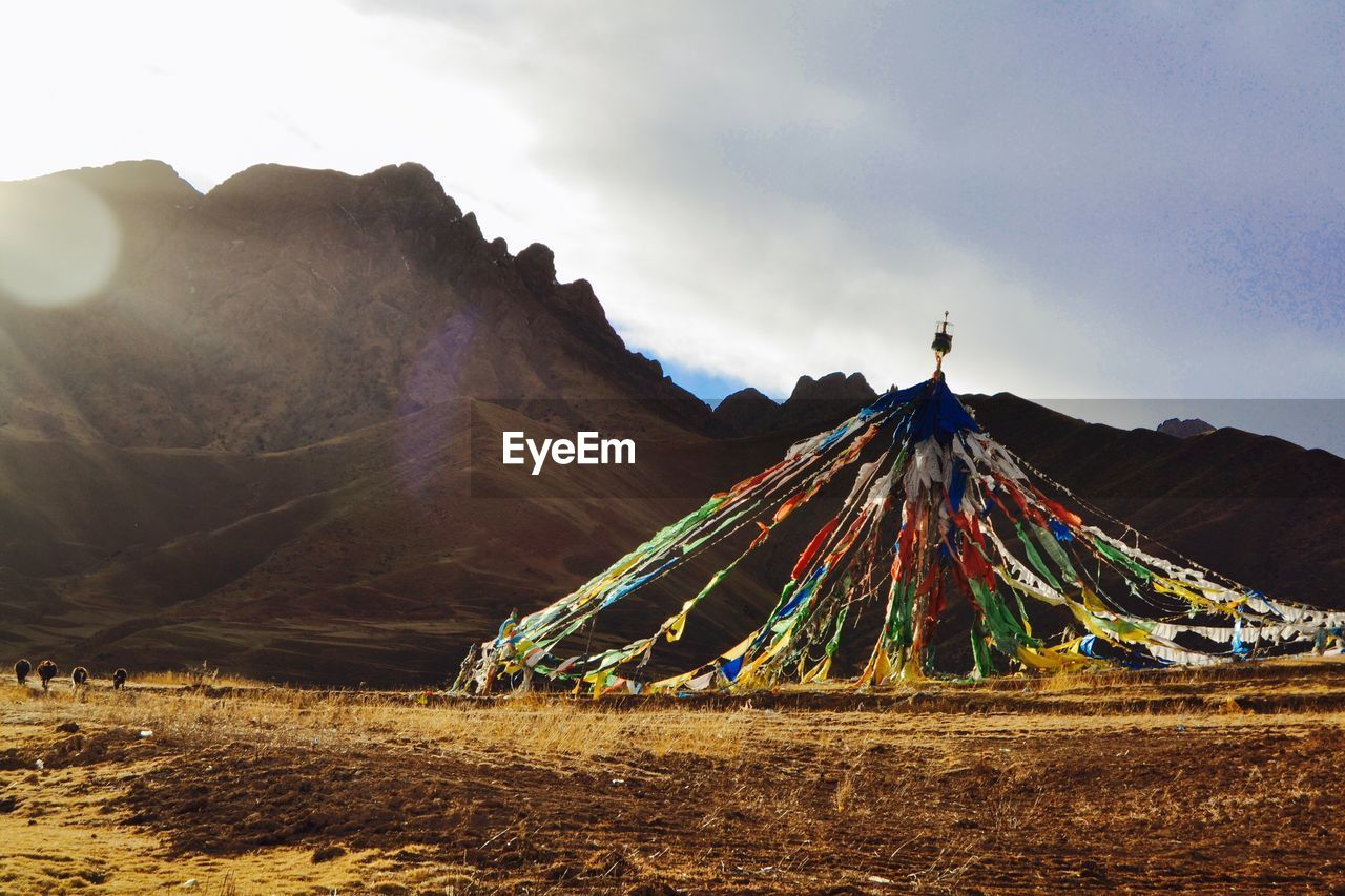 Prayer Flags On Field By Mountains Against Sky