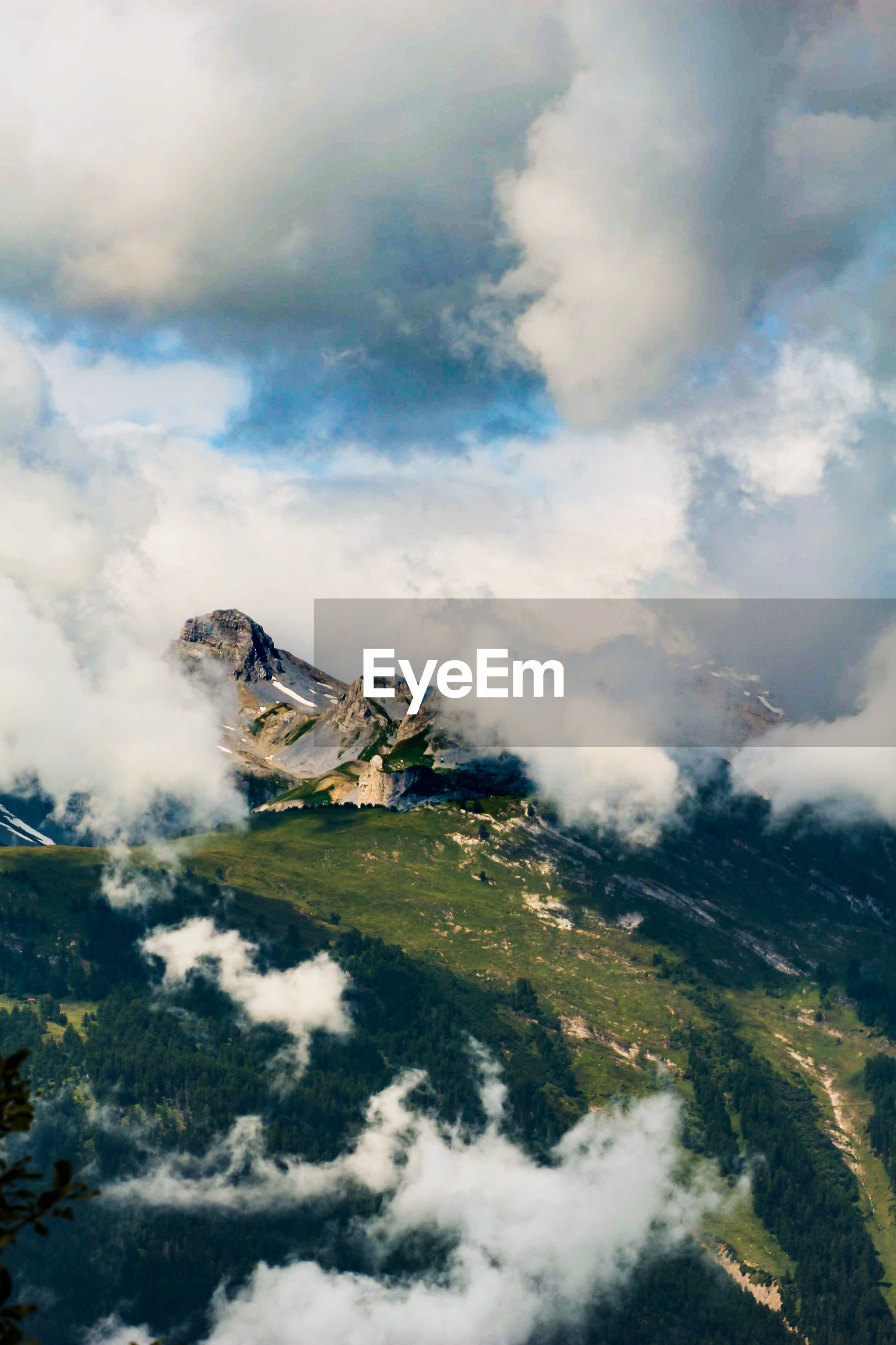 High angle view of mountains against sky