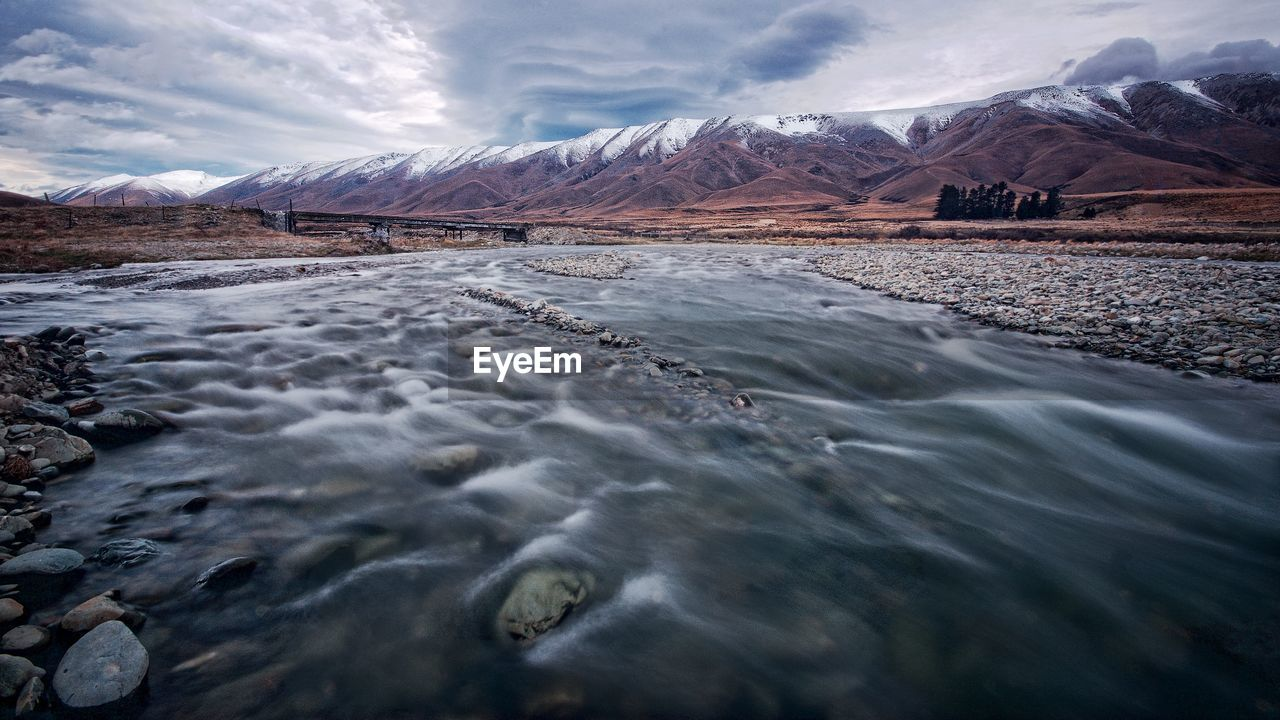 Scenic View Of River By Snowcapped Mountains