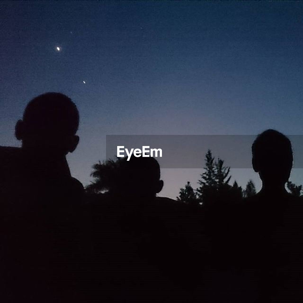silhouette, two people, tree, night, sky, dark, child, moon, star - space, people, childhood, togetherness, boys, astronomy, nature, space, outdoors, clear sky, adult, children only