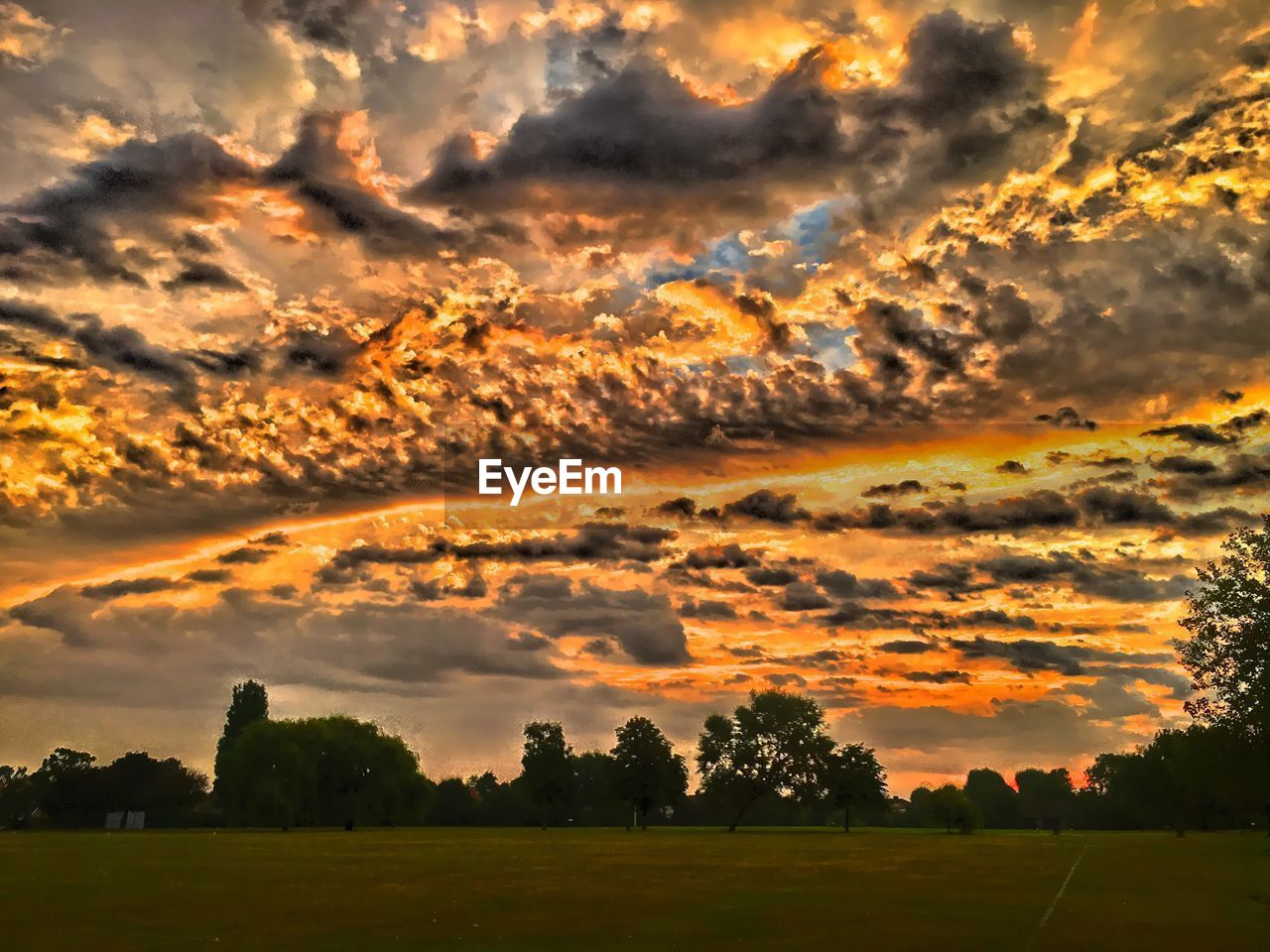 sunset, beauty in nature, cloud - sky, nature, scenics, tranquil scene, tree, sky, tranquility, dramatic sky, orange color, no people, majestic, field, idyllic, outdoors, landscape, growth, grass, day