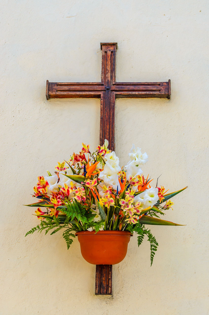 flower, flowering plant, plant, wood - material, wall - building feature, no people, cross, nature, decoration, spirituality, religion, belief, close-up, day, door, built structure, freshness, architecture, entrance, flower arrangement
