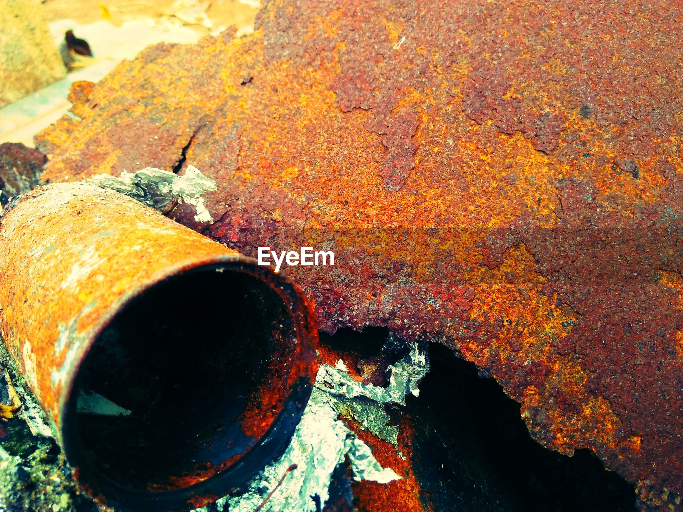 Close-up of rusty metal pipe