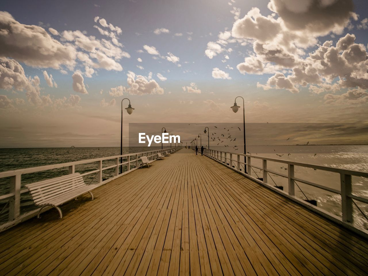 sky, cloud - sky, direction, sea, the way forward, railing, water, wood - material, horizon over water, diminishing perspective, nature, horizon, wood, pier, scenics - nature, tranquility, beauty in nature, wood paneling, tranquil scene, no people, outdoors, long