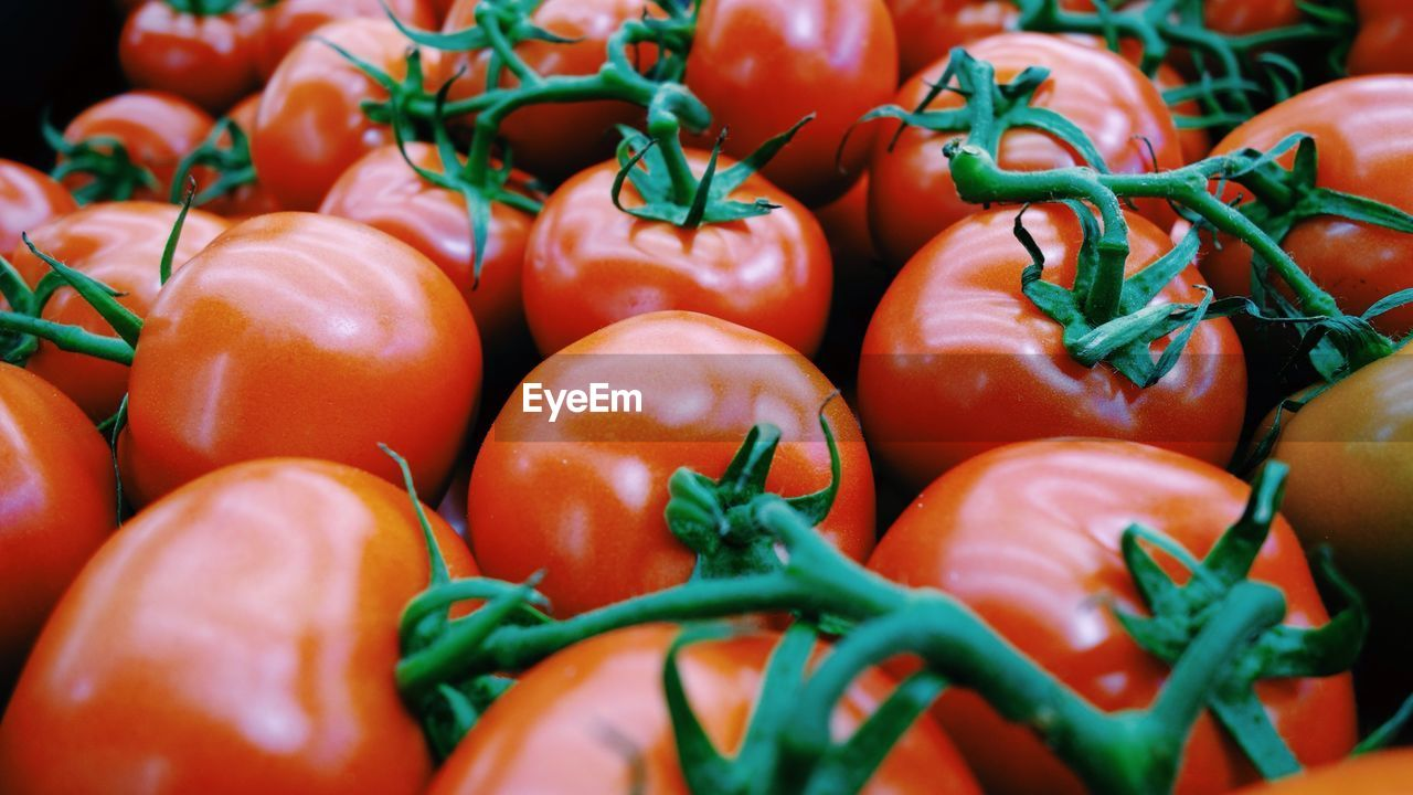 Full Frame Shot Of Tomatoes For Sale At Market Stall