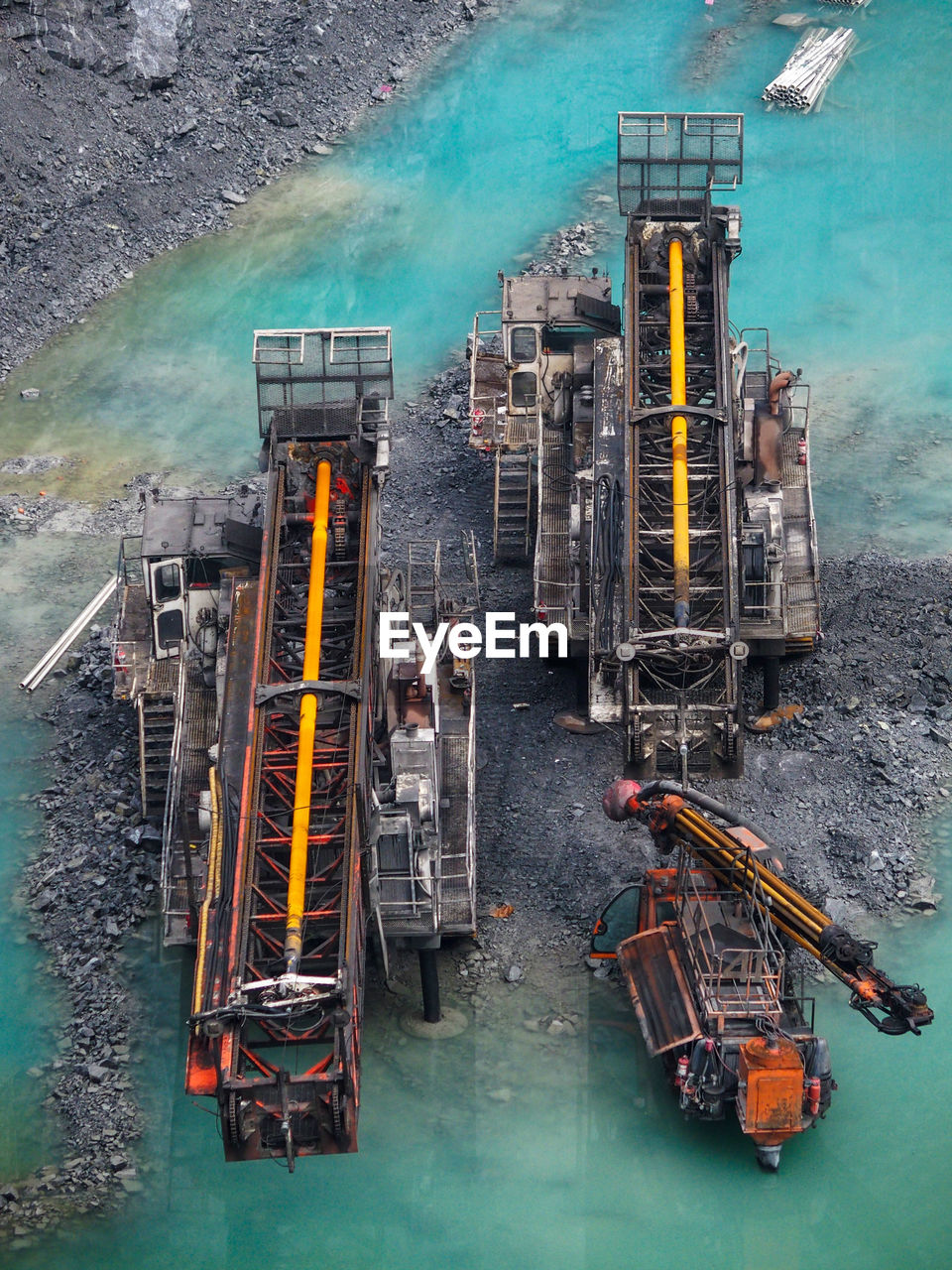 High angle view of drilling rig in sea