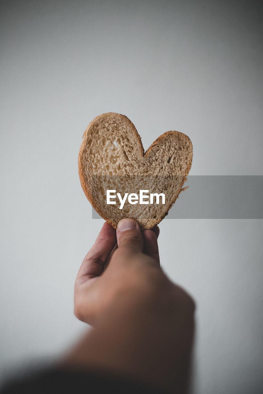 Heart shaped piece of bread