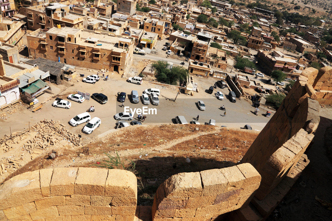 Aerial View Of Cars On Street Seen From Fort
