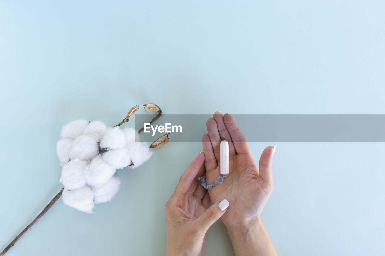 Woman hand holds a sanitary tampon with the cotton lying next to it