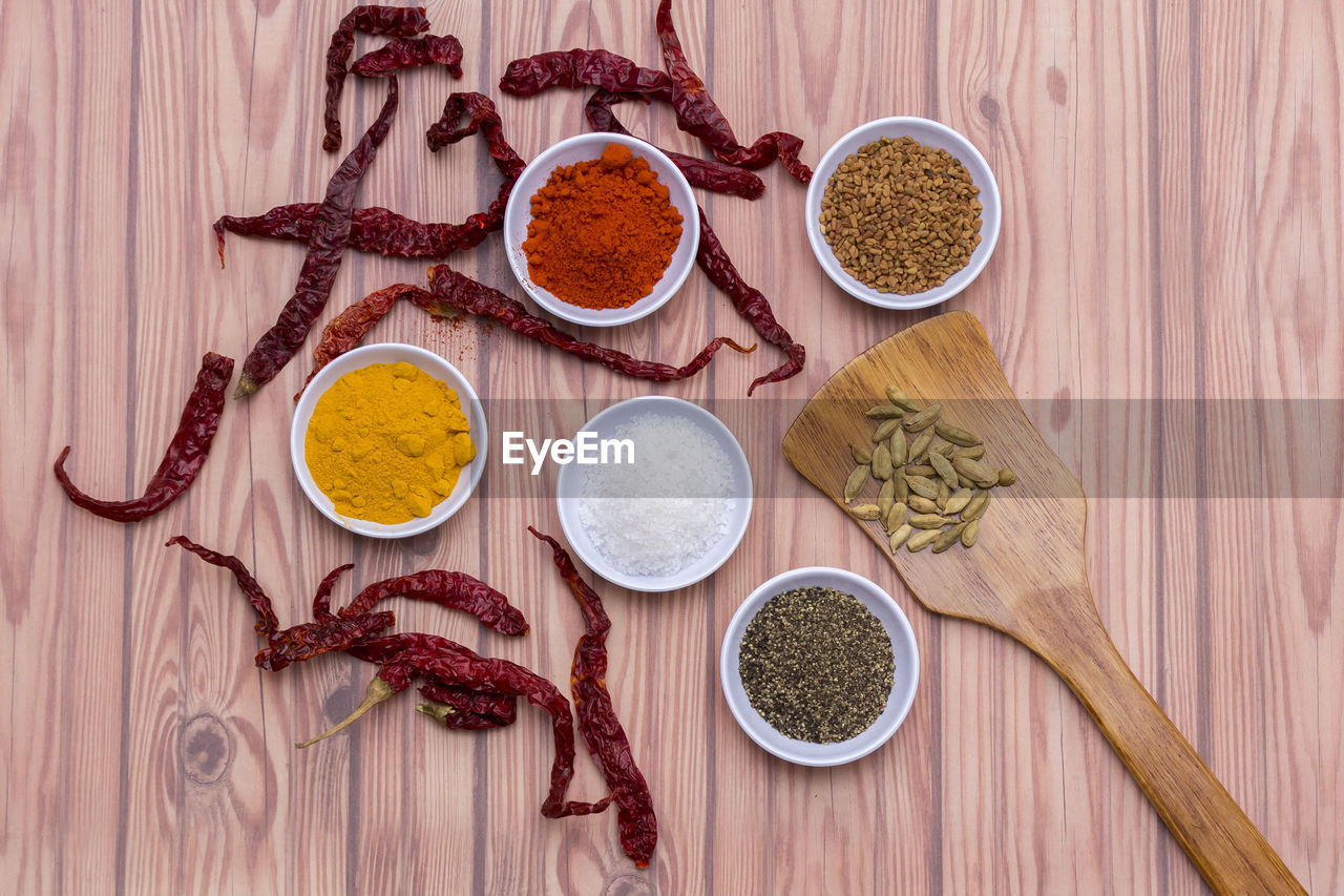 food and drink, choice, food, variation, spice, ingredient, wood - material, spoon, indoors, ground - culinary, kitchen utensil, chili pepper, pepper, directly above, eating utensil, bowl, dried food, freshness, seasoning, close-up, no people, wooden spoon, cardamom, herb, mustard, indian food