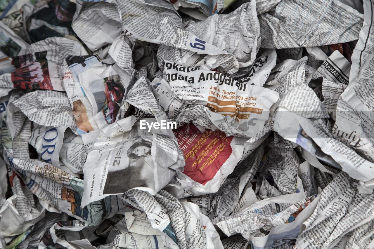 Full Frame Shot Of Crumpled Newspaper