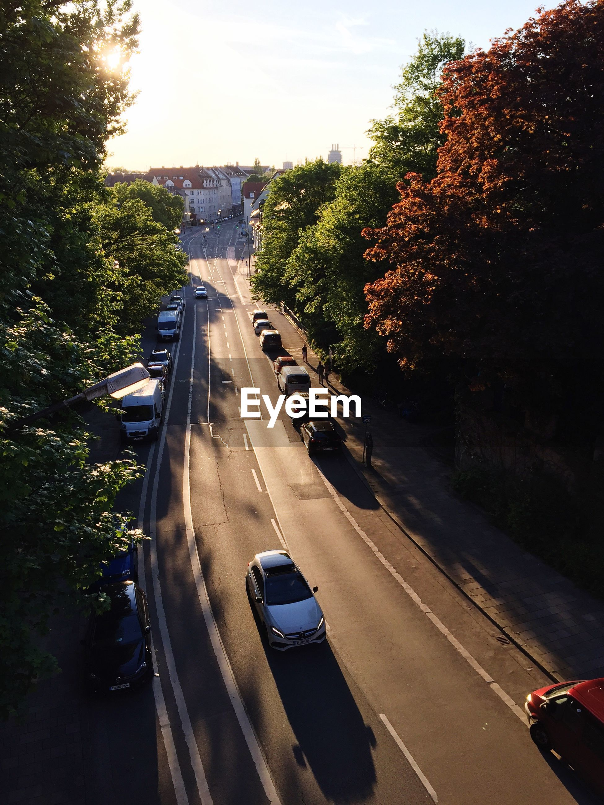 High angle view of cars moving on road amidst trees in city