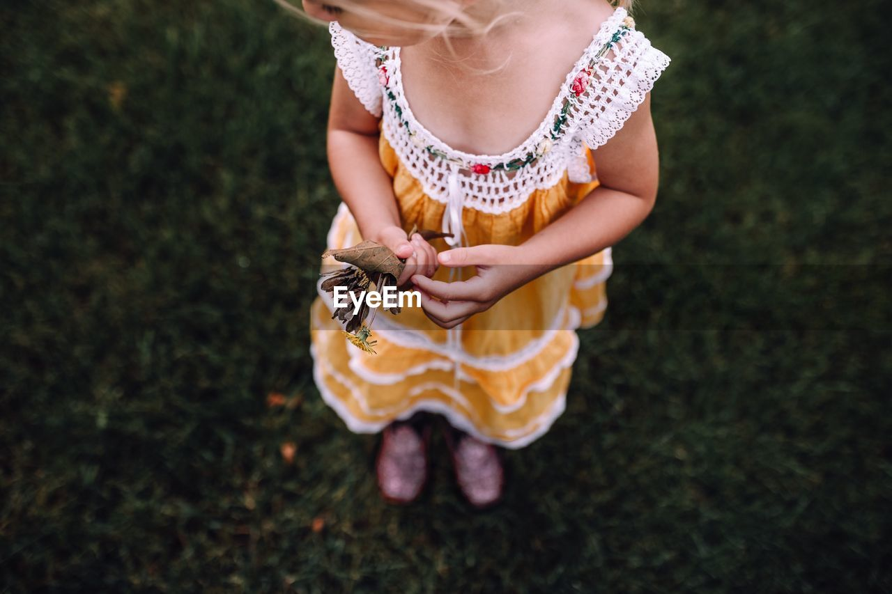 Low section of girl holding dry leaves while standing on grass