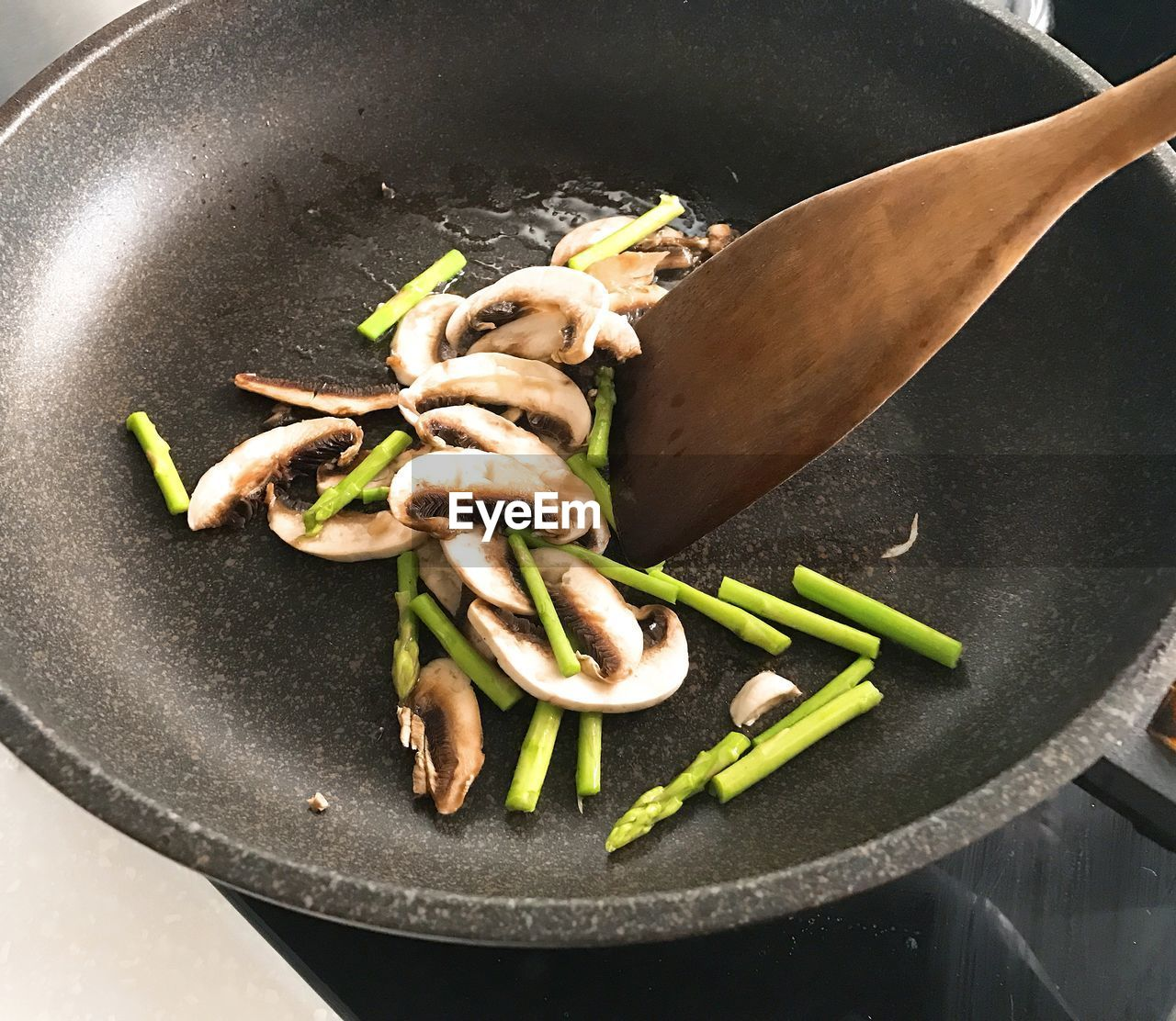 High Angle View Of Food In Cooking Pan