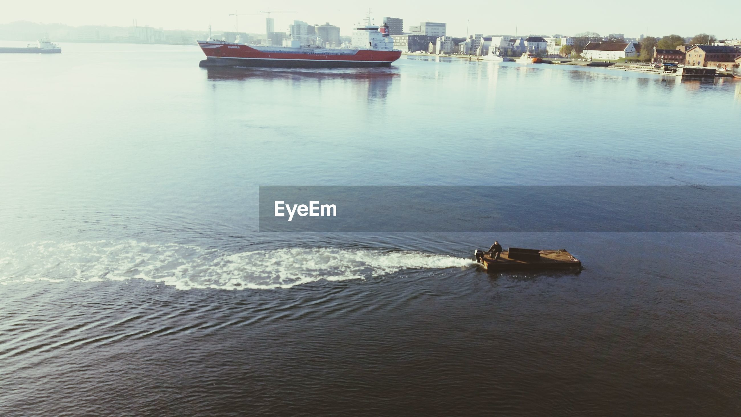 High angle view of boat moving in lake