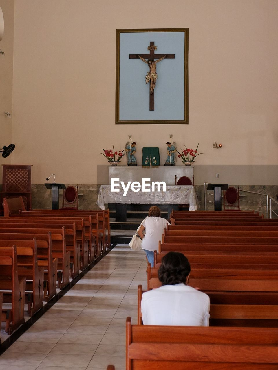 Rear view of people in church