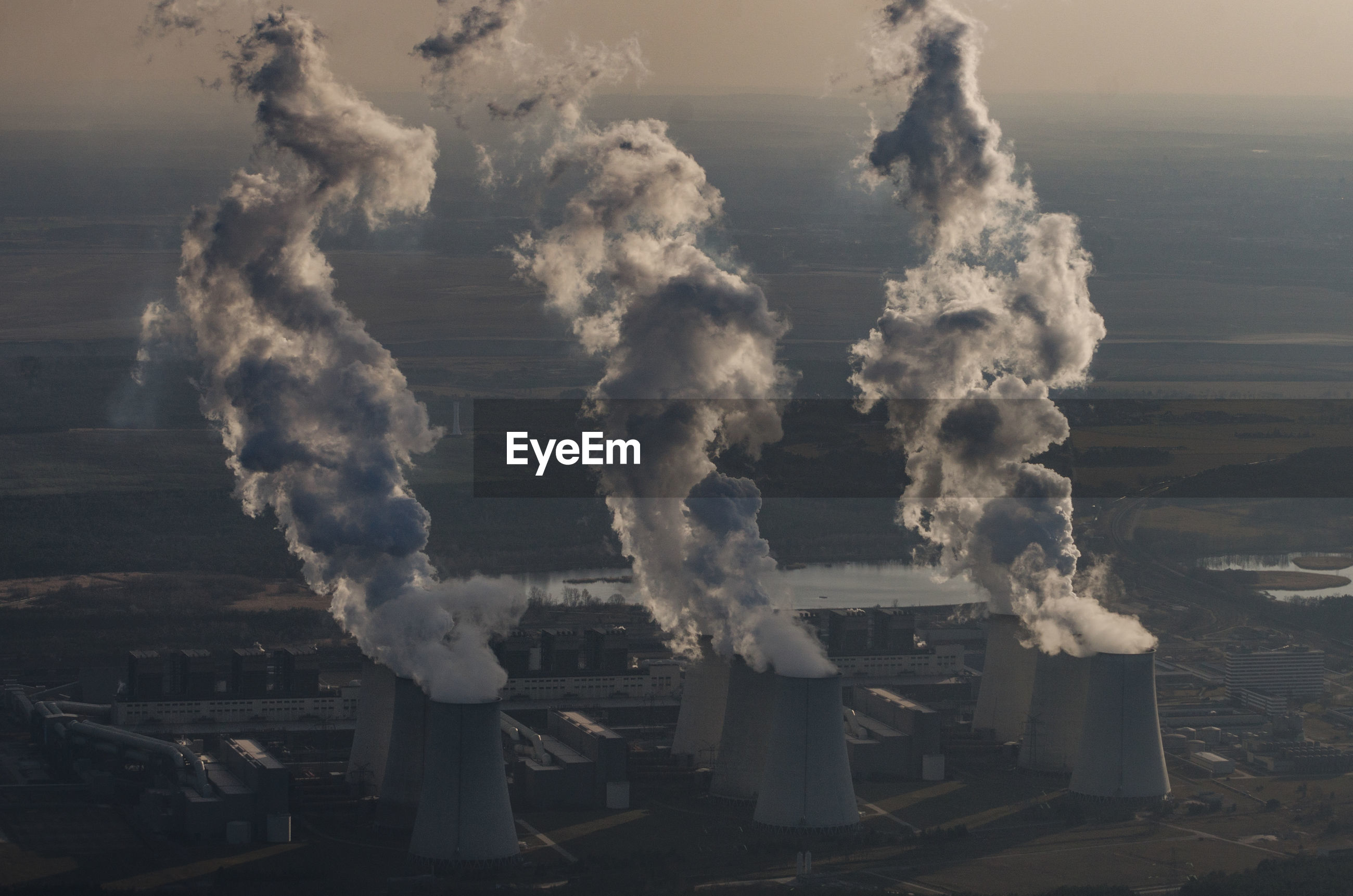 Aerial view of industrial smoke stacks