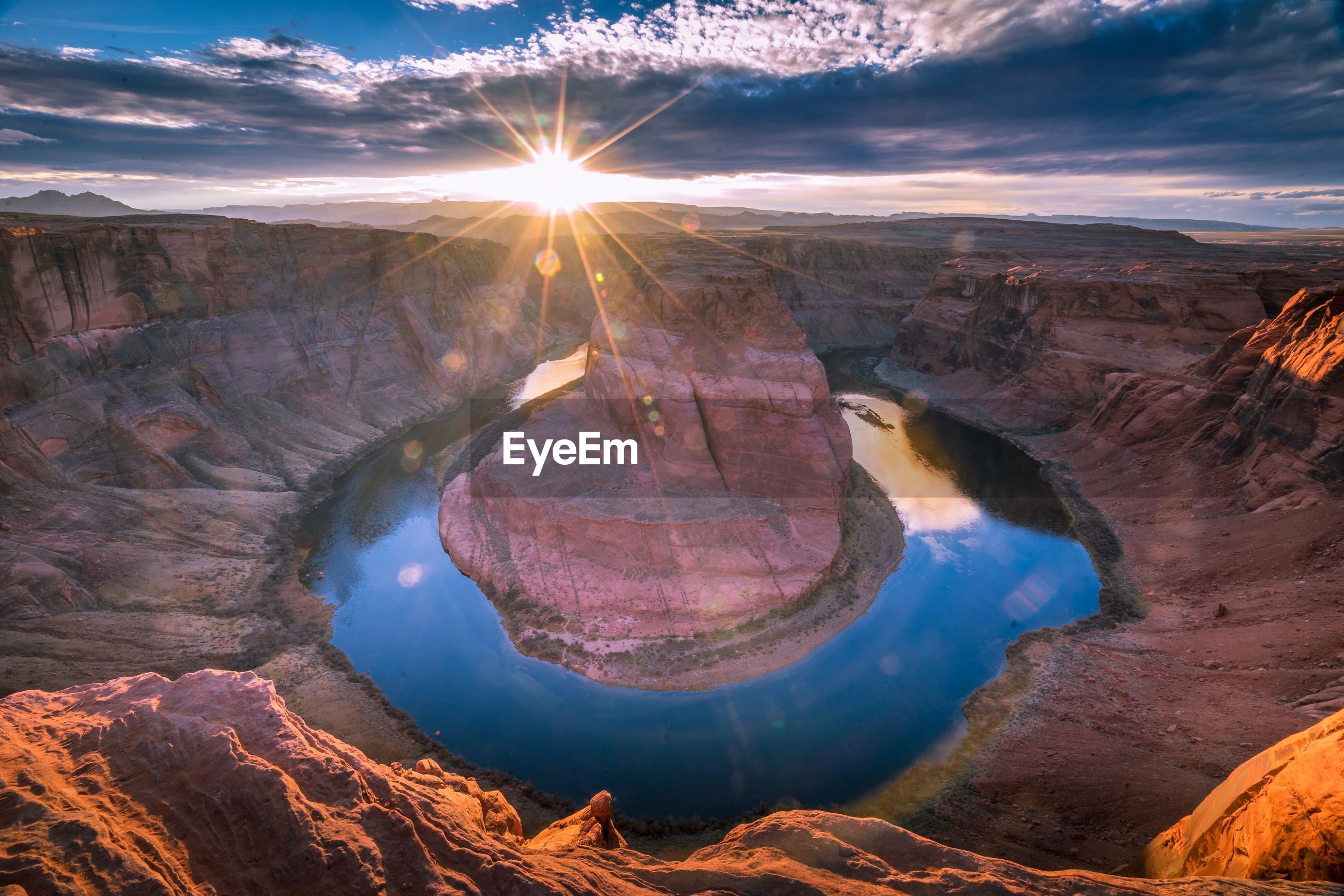 Aerial view of horseshoe bend during sunset