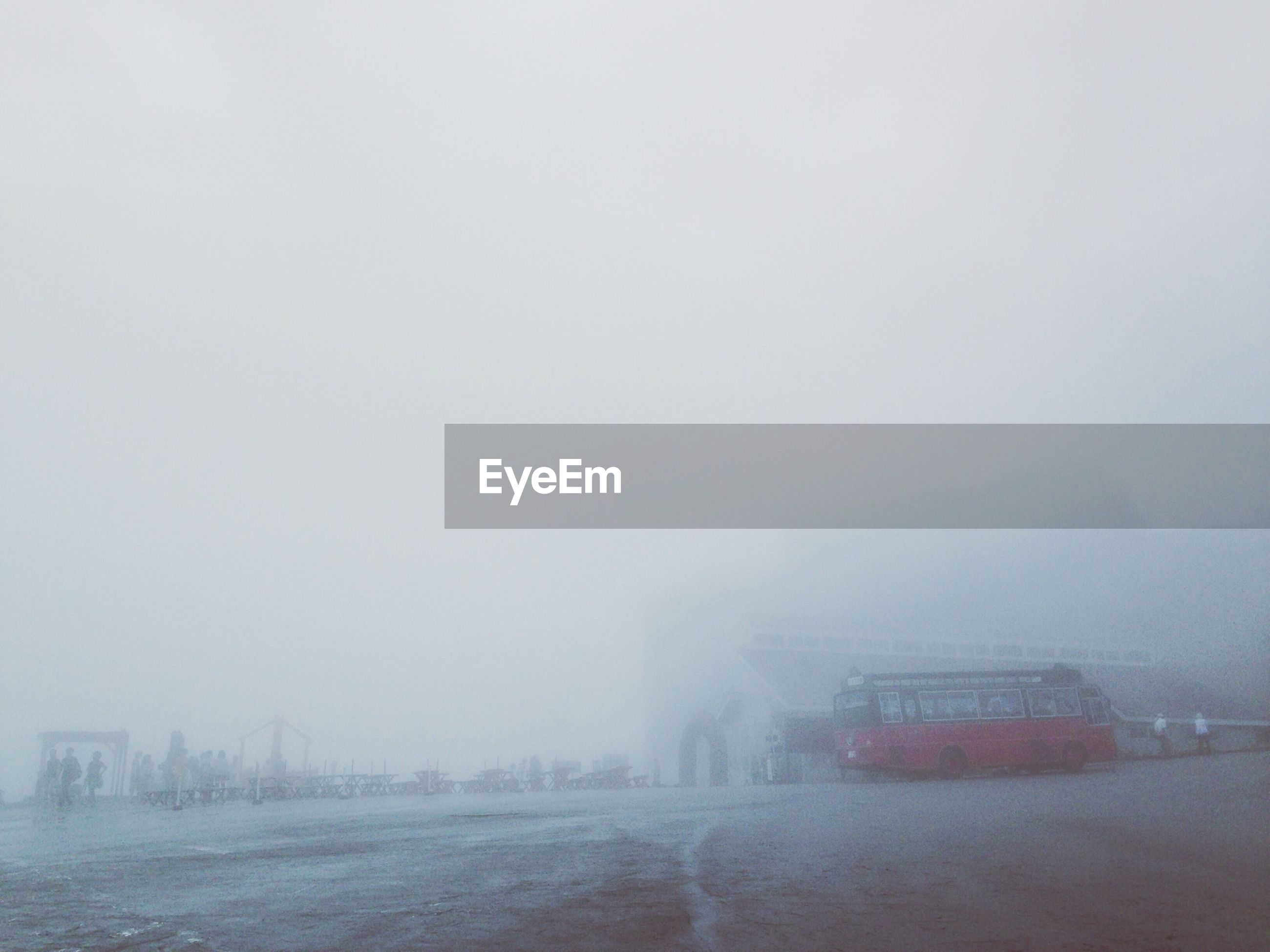 Bus on street during foggy weather