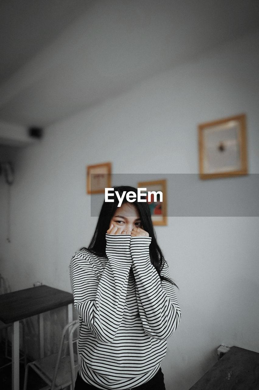 A shy woman