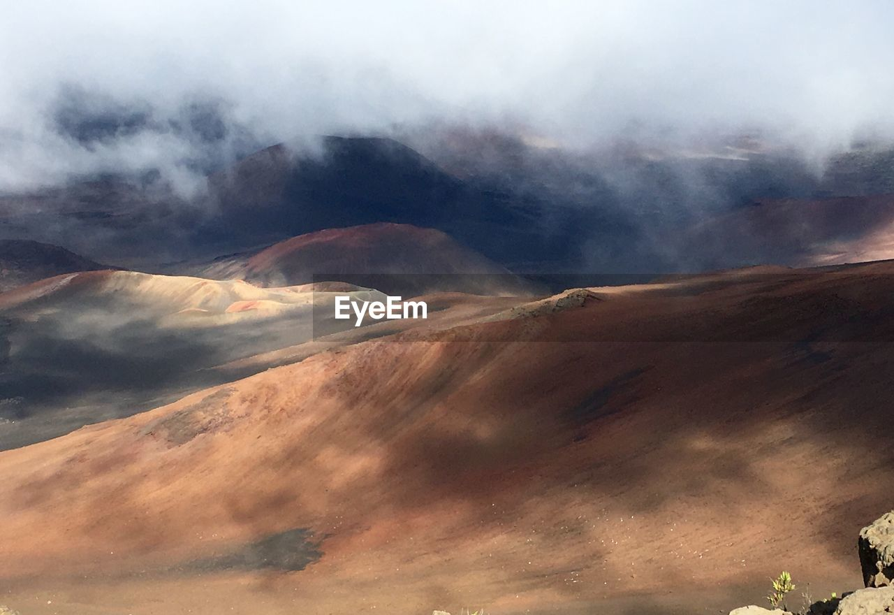 High Angle View Of Volcanic Crater With Smoke