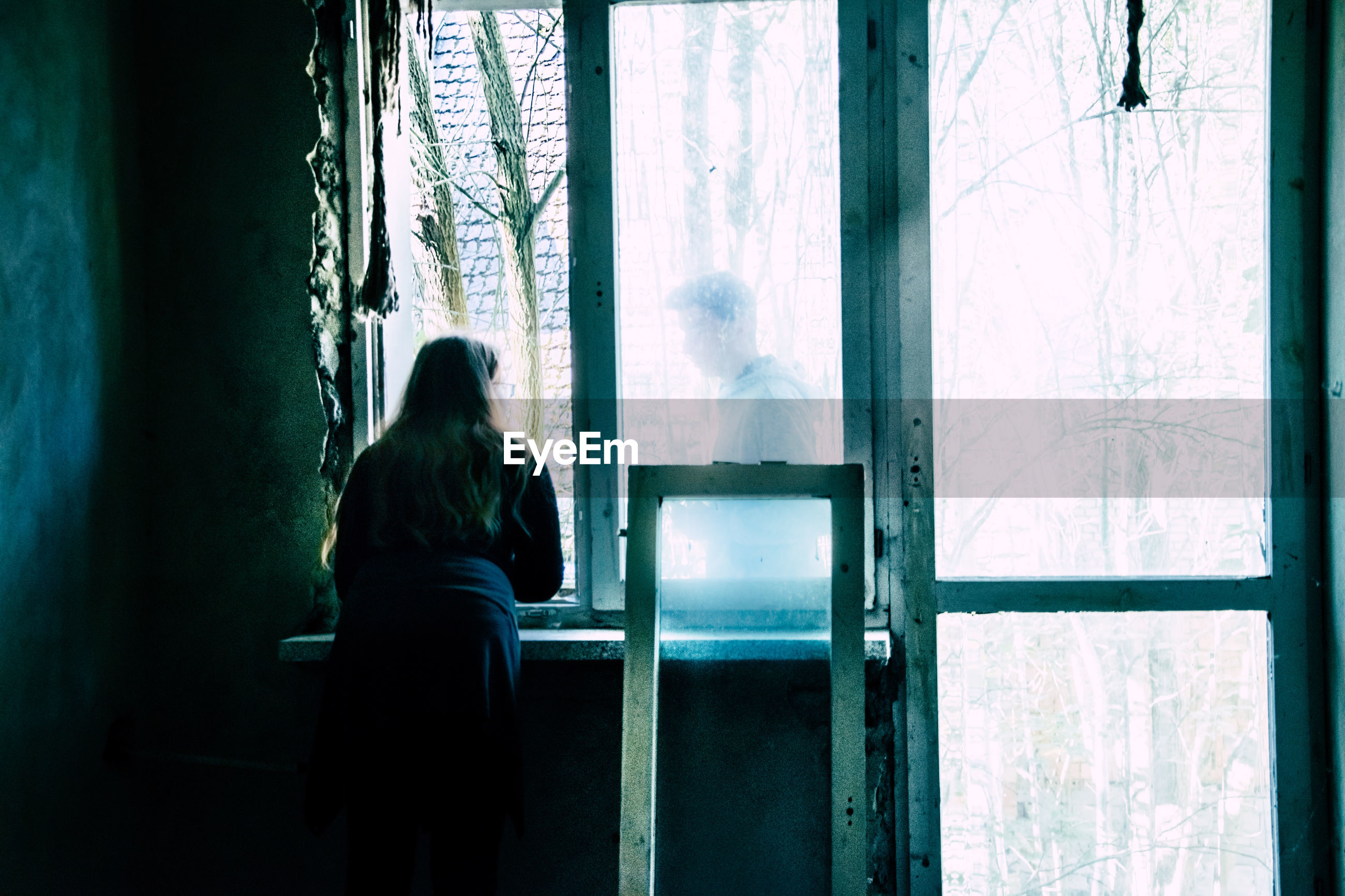 window, real people, women, rear view, adult, tree, lifestyles, indoors, day, people, plant, forest, sitting, curtain, leisure activity, men, nature, glass - material, two people, hairstyle, waiting