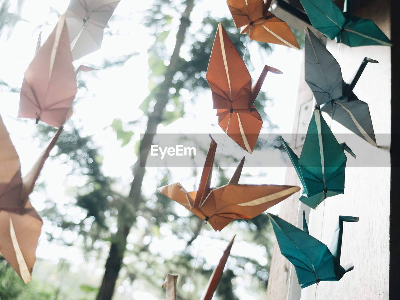 Low angle view of paper birds hanging outdoors