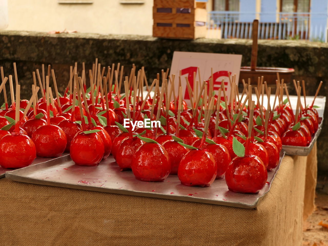 Close-up of taffy apples for sale on table