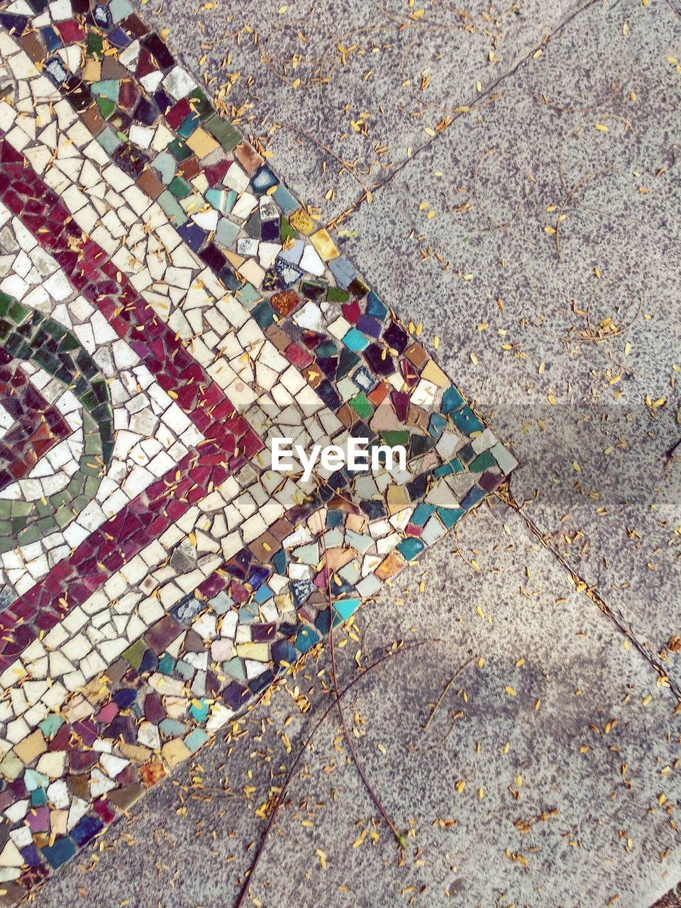 Directly Above Shot Of Mosaics On Footpath