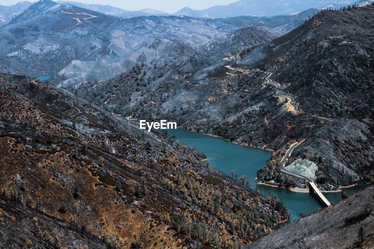 High angle view of lake and mountains