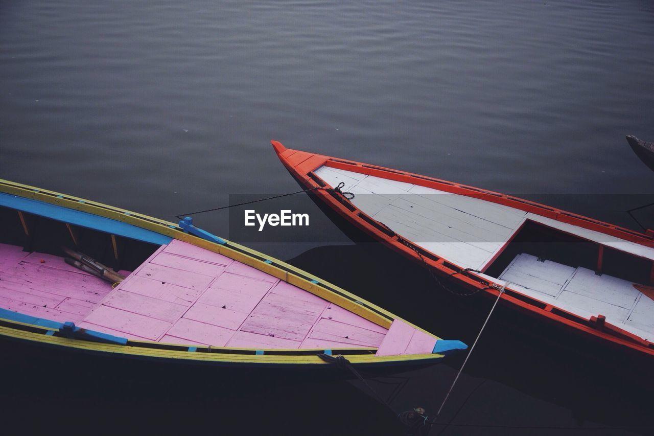 High Angle View Of Boats Moored On Lake