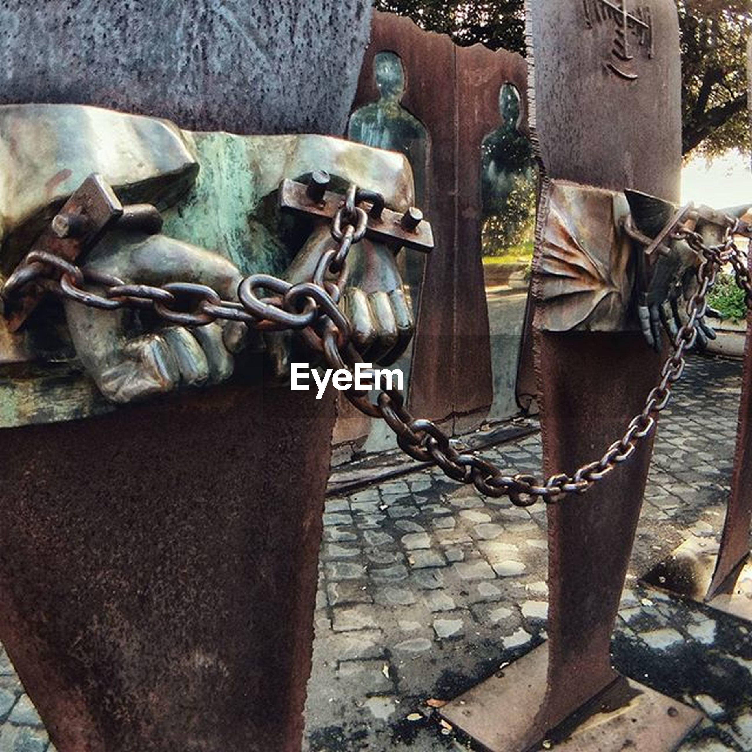 outdoors, day, part of, wood - material, metal, close-up, sunlight, hanging, tied up, fence, no people, chain, abundance, transportation, low section, large group of objects, high angle view, stack, old, protection