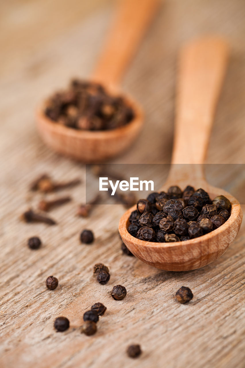 food and drink, food, wood - material, freshness, spoon, kitchen utensil, eating utensil, healthy eating, spice, still life, table, close-up, no people, indoors, wellbeing, selective focus, wooden spoon, focus on foreground, dried food, brown
