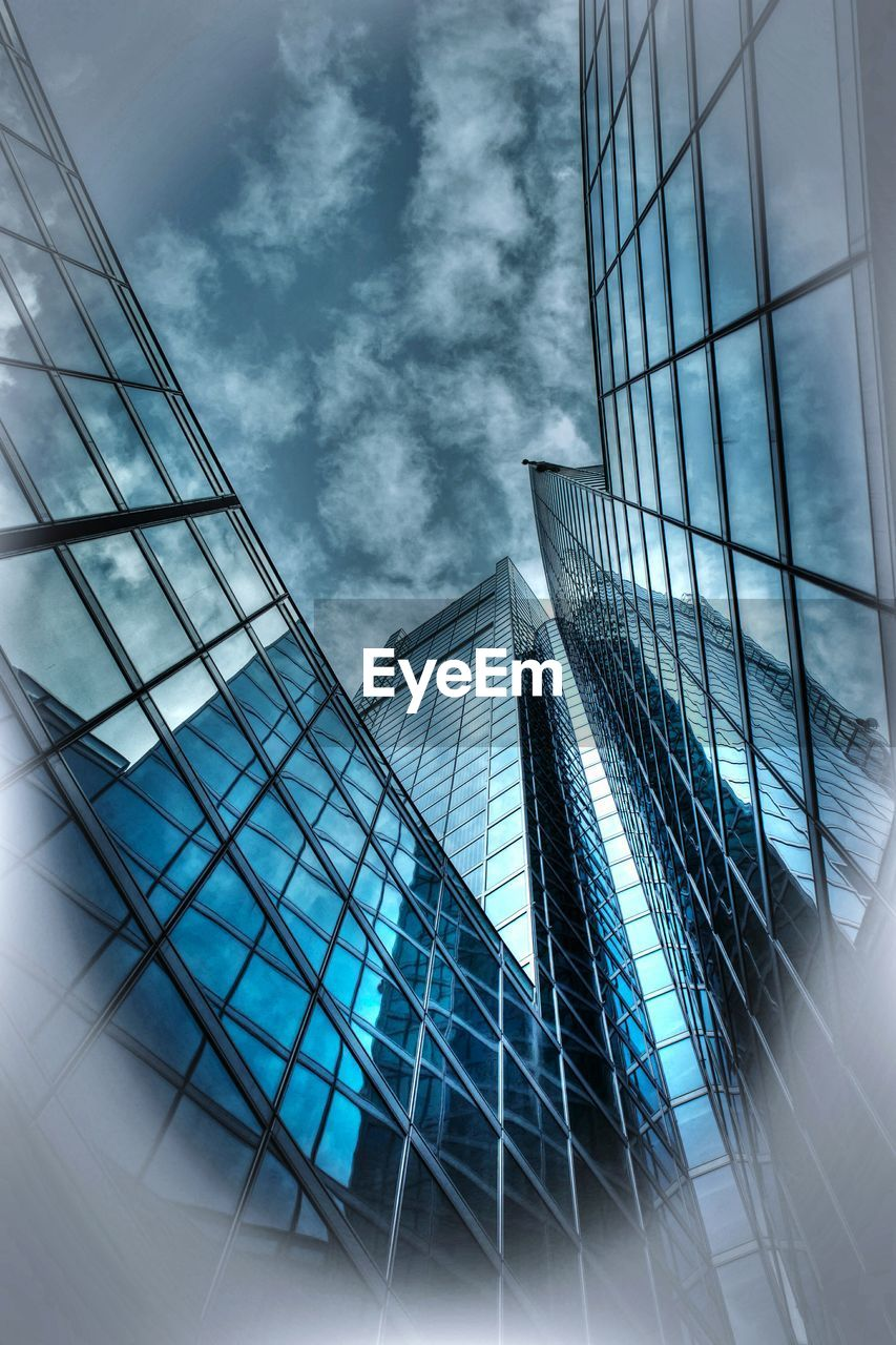 modern, architecture, skyscraper, built structure, city, business, reflection, sky, futuristic, office, no people, low angle view, building exterior, place of work, steel, day, outdoors, office park