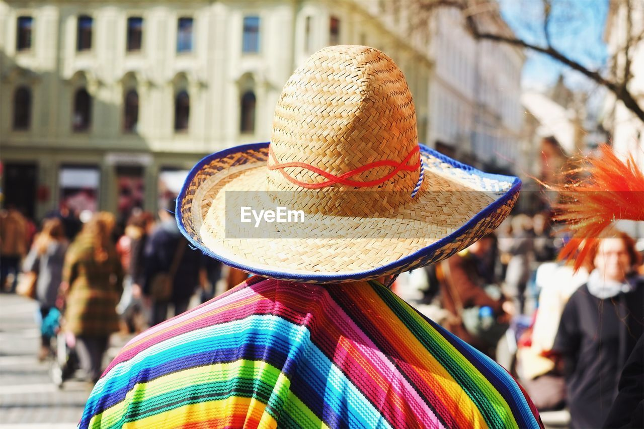 Rear View Of Person With Poncho And Sombrero
