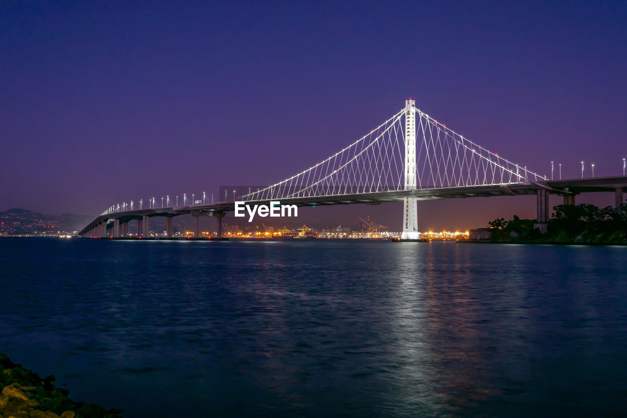 Bridge over calm river at night