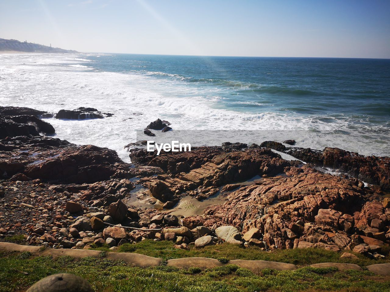 sea, rock, water, horizon, horizon over water, beauty in nature, solid, rock - object, sky, land, scenics - nature, beach, wave, motion, nature, rock formation, tranquil scene, no people, tranquility, breaking, rocky coastline