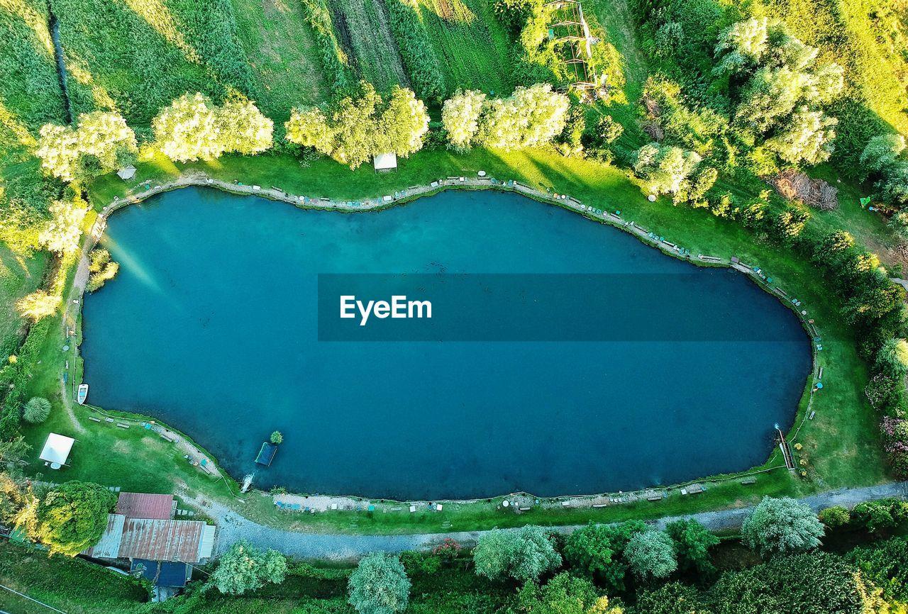 High angle view of small lake