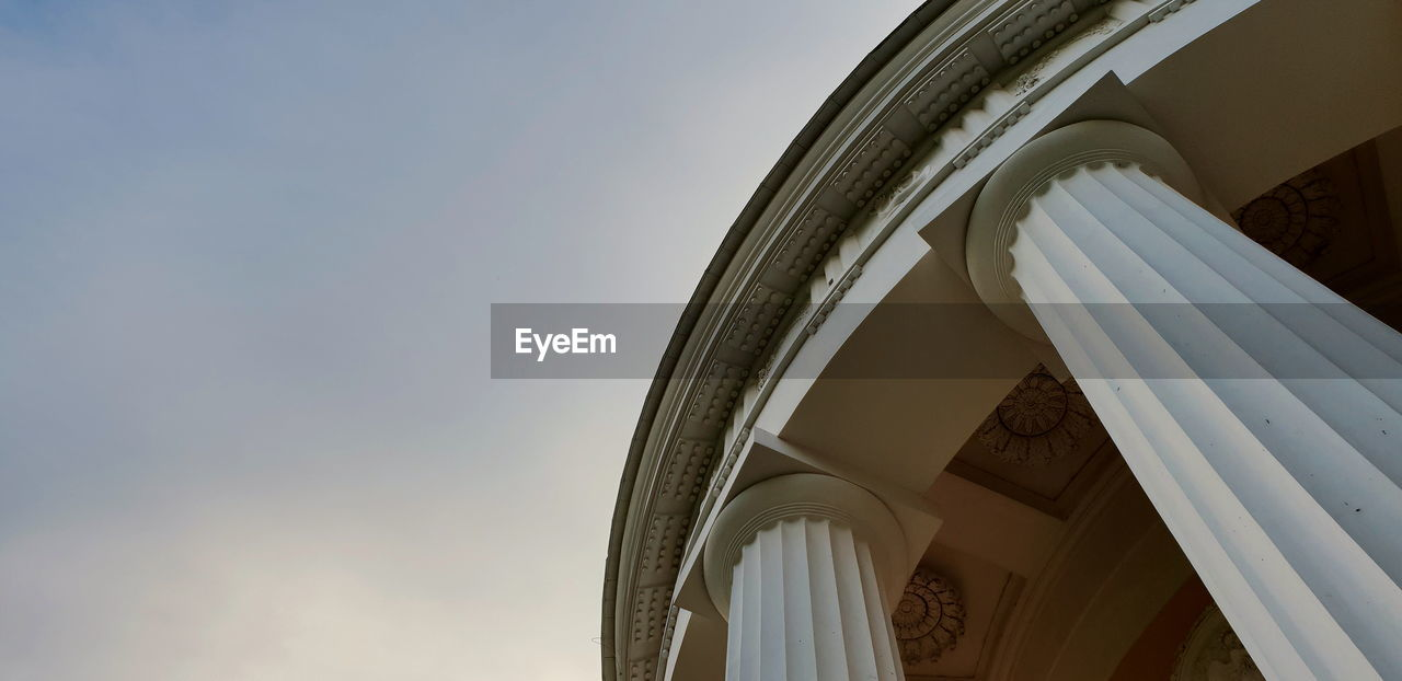 built structure, architecture, low angle view, sky, arch, building exterior, building, day, no people, nature, architectural column, religion, history, outdoors, white color, the past, belief, place of worship, clear sky, spirituality