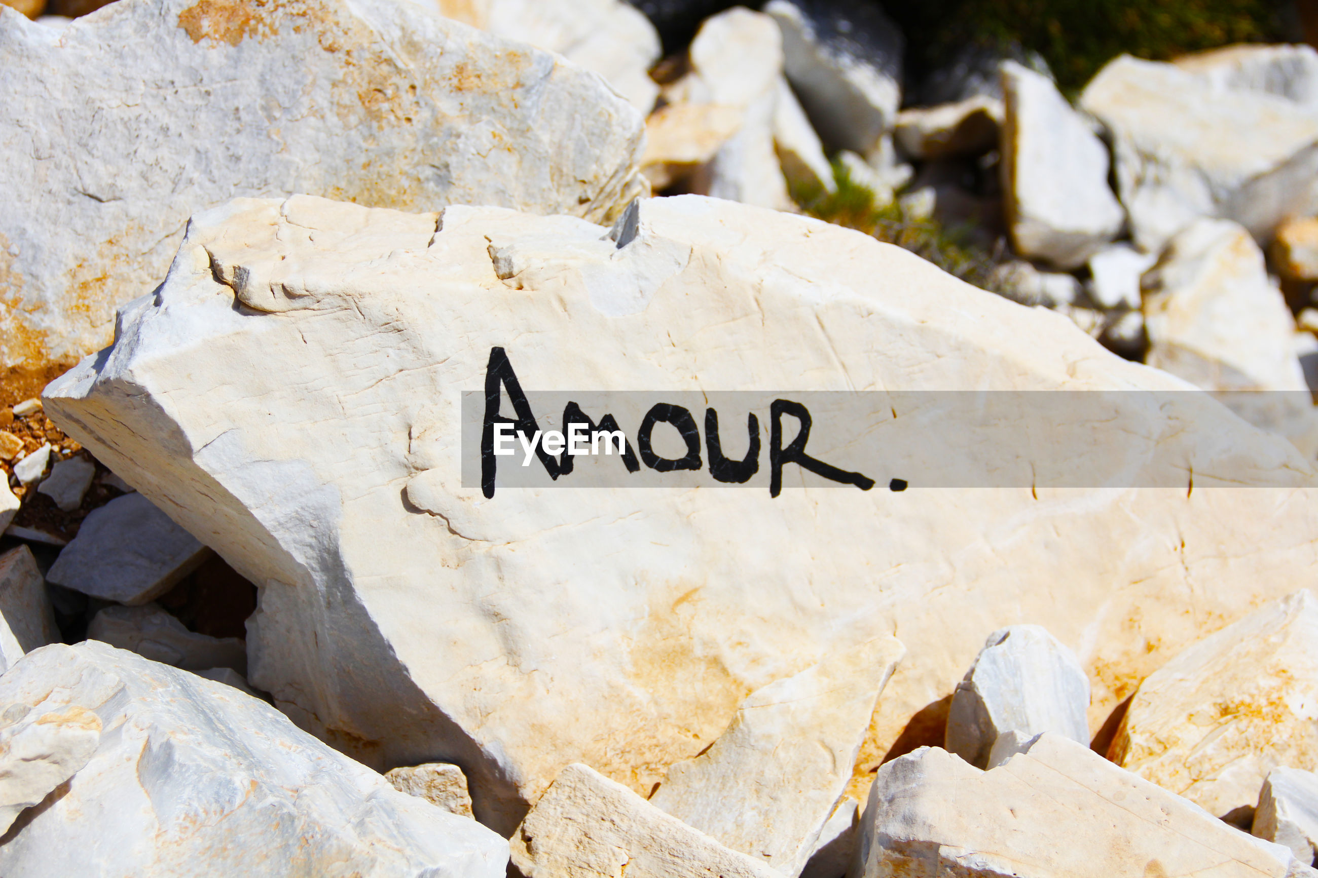 Text on rock