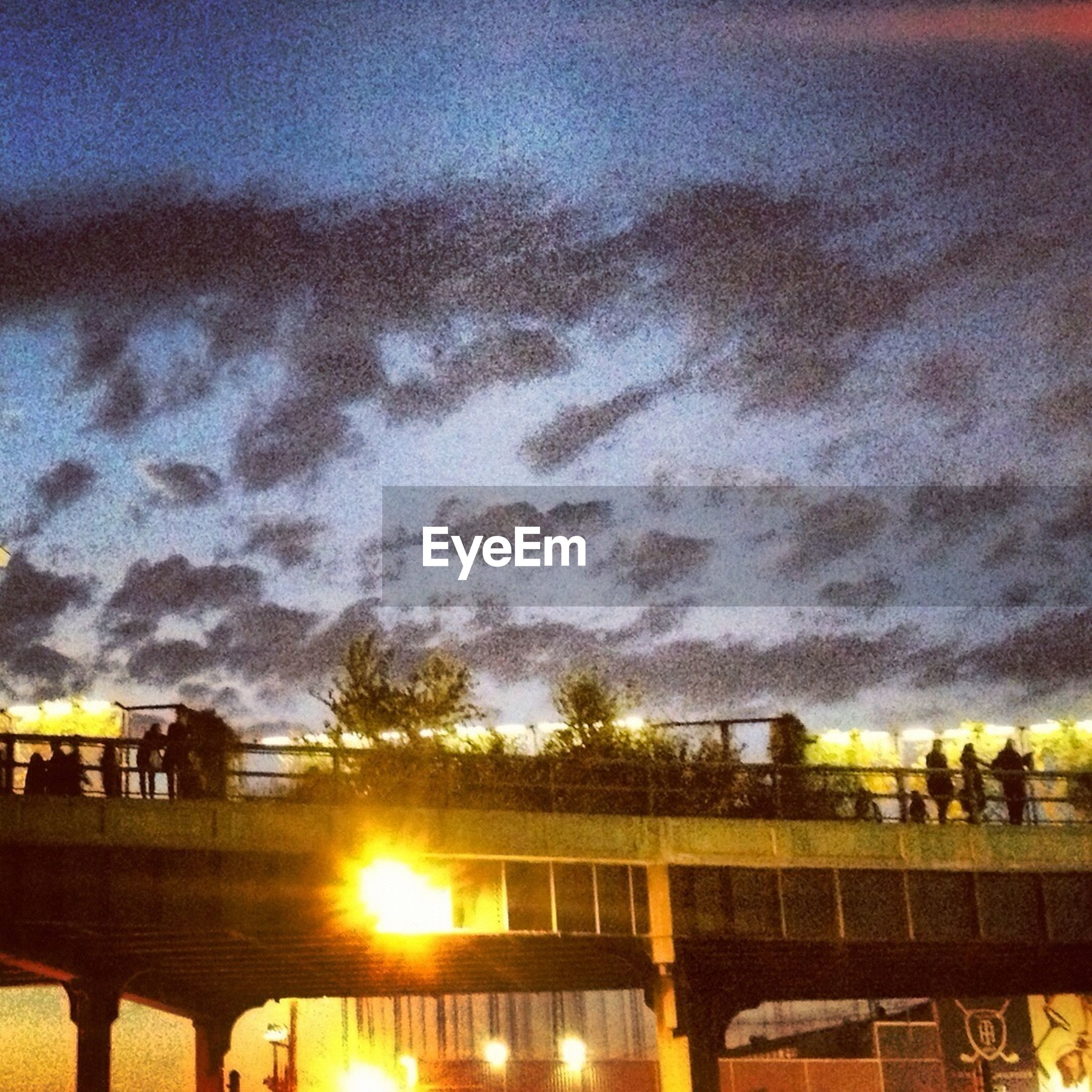 sky, sunset, water, cloud - sky, built structure, railing, architecture, men, lifestyles, nature, sea, silhouette, incidental people, leisure activity, beauty in nature, orange color, scenics, cloudy, cloud