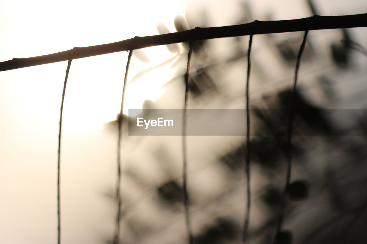 close-up, focus on foreground, metal, no people, sky, nature, day, security, fence, protection, boundary, safety, barrier, outdoors, low angle view, selective focus, pattern, silhouette, grid, architecture