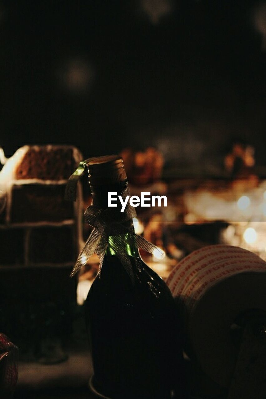 bottle, food and drink, drink, alcohol, focus on foreground, celebration, night, indoors, close-up, no people, party - social event, freshness, liqueur