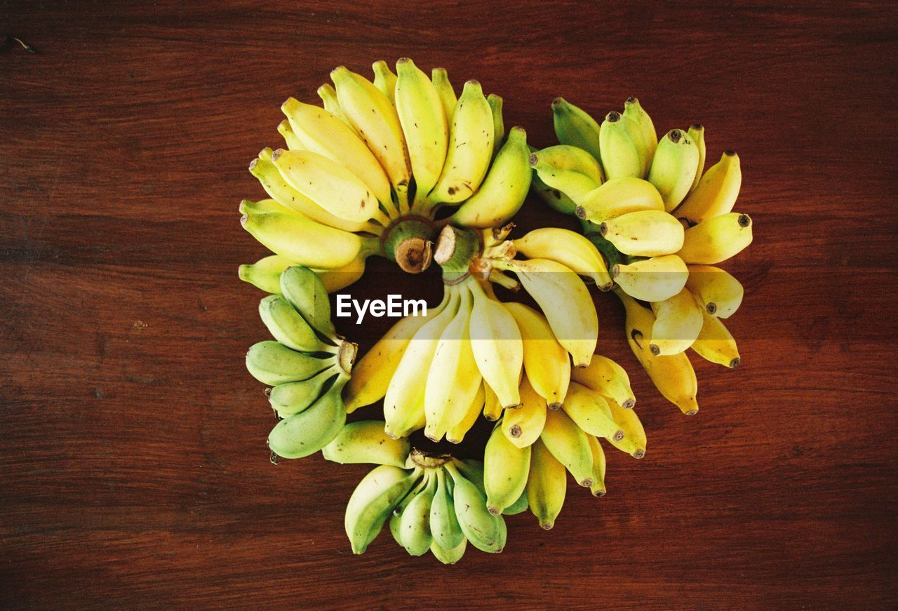 fruit, banana, yellow, freshness, food, food and drink, directly above, high angle view, table, healthy eating, no people, banana peel, bunch, flower, indoors, close-up, day